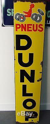 Ancienne plaque émaillée garage Pneus DUNLOP Savignac EAS 1ère version plate