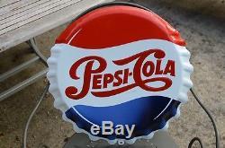 Ancienne plaque émaillée pepsi cola vintage 48cm forme capsule
