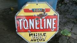 Ancienne plaque émaillé huileToneline garage