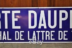 Ancienne plaque métro de Paris Porte Dauphine Maréchal de Lattre de Tassigny
