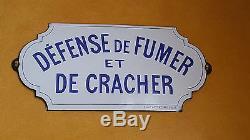 Ancienne plaque publicitaire emaillee defense de fumer et de cracher