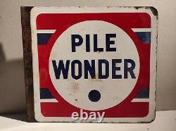 Ancienne plaque publicitaire émaillée vintage Pile Wonder double face émaillerie