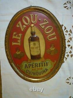 Ancienne plaque publicitaire tôle lithographiée Apéritif quinquina le Zou-Zou
