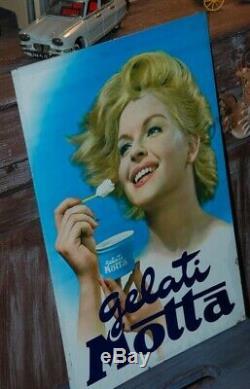 Ancienne plaque tôle peinte glace italiennes GELATI MOTTA