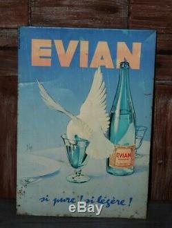 Ancienne plaque tôle publicitaire Evian source-Cachat 1924