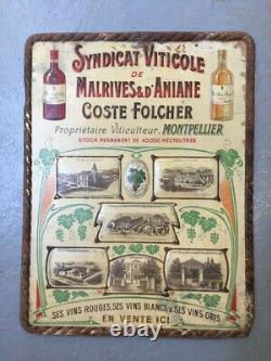 Ancienne plaque tôle publicitaire Syndicat imp. L. Revon Vin