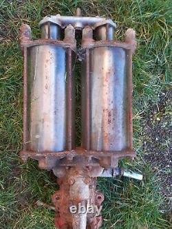 Ancienne pompe à essence 2 GLOBES SATAM 1930, garage, no copie, no émaille