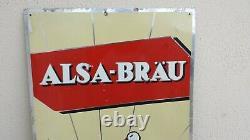 Ancienne rare plaque publicitaire en tôle bière d'Alsace ALSA-BRAU avec cigogne