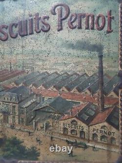 Ancienne superbe RARE Tole Publicitaire emboutie Biscuiterie Pernot dijon 1920