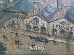 Ancienne superbe et RARE Tole Publicitaire emboutie Biscuiterie Pernot 1900