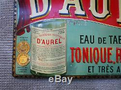 Ancienne tôle emboutie eau minérale d'Aurel Saillans Die Crest plaque émaillée