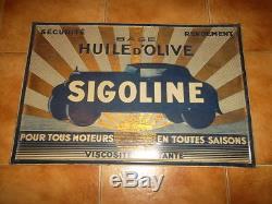 Ancienne tôle garage huile sigoline no plaque émaillée (rare)
