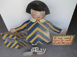 Ancienne tole litho présentoir BISCUIT BRUN 1930 no plaque émaillée kub maggi