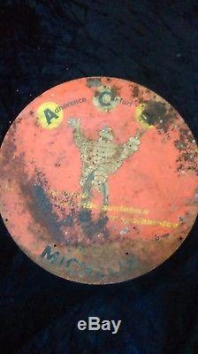 Ancienne tôle métal double face MICHELIN VÉLO BIBENDUM cyclomoteur, no émaillée