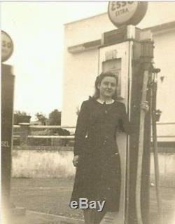 Antica Insegna Esso globo Gas Station Pump gasoline vintage Glass Double face