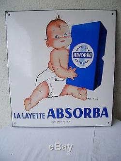Authentique Ancienne plaque émaillée publicitaire La Layette ABSORBA