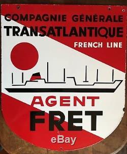 Authentique Plaque Emaillee Double Faces Cie Transatlantique Agent Fret Paquebot