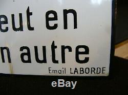 Authentique Plaque en Tôle émaillée Ne Traversez Pas Train Email Laborde