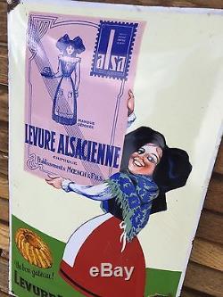 Authentique Plaque Émaillée Levure Alsacienne Alsa