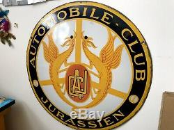 Automobile-club-jurassien Plaque Emaillee Ancienne-email Japy