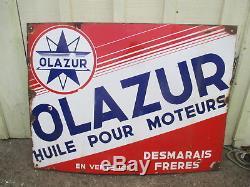Azur Desmarais frères olazur plaque émaillée huile pour moteur bidon oil can tin