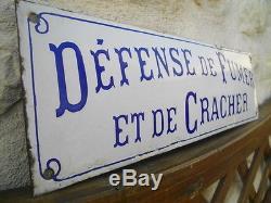 BELLE PLAQUE EMAILLEE DEFENCE DE FUMER ET DE CRACHER