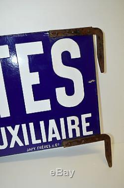 BELLE PLAQUE EMAILLEE DOUBLE POSTE RECETTE AUXILIAIRE Japy Frères & Cie PUB déco