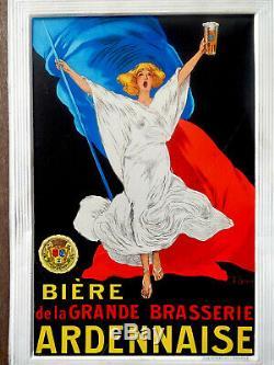 BIERE DE LA GRANDE BRASSERIE ARDENNAISE TÔLE LITHO signée J. SPRING-TOP ETAT
