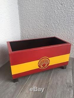 Bac A Fleurs Huile Shell Station Service Plaque Émaillée