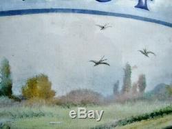 Belle Plaque émaillée bombée de Villa 1934 Beau décor champêtre Oiseaux Nature