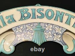 Belle & Rare Ancienne Plaque Emaillée 1900 Bombée Villa Bisontine 38 x 19 cm