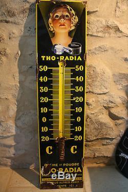 Belle et ancienne plaque émaillée/thermomètre THO-RADIA poudre/crème
