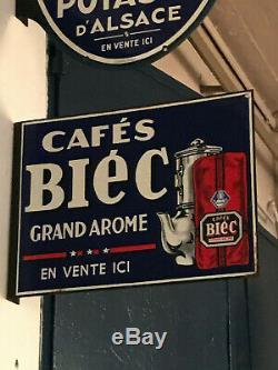 Belle plaque BIEC CAFE 1930 plaque emaillée potence double face café