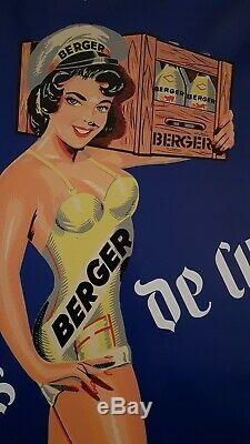 Belle plaque ancienne tôle publicitaire Sirop Berger 1958