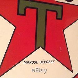 Belle plaque emaillée ancienne TEXACO double face HUILE POUR AUTOS