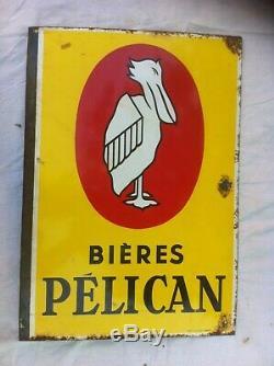 Belle plaque émaillée Bières PELICAN double face