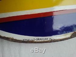 Belle plaque émaillée double face Fly-Tox L'Emaillo-Gravure Paris