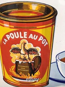 Belle plaque émaillée la Poule au Pot