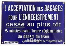 Belle plaque émaillée 1930 SNCF enregistrement bagages édition Jean Paris