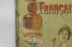 Belle tôle lithographiée GENTIANE FRANCAISE très difficile à trouver