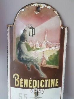 Bénédictine plaque émaillée thermomètre, personnage à la lanterne 99 CM