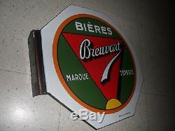 Bière plaque émaillée double face Breuvart