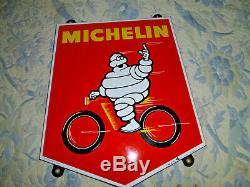 Bibendum Michelin, plaque émaillée originale, Enamel sign MICHELIN VELO 1966