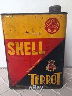 Bidon D'huile Ancien SHELL terrot No Plaque Émaillée