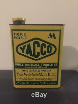 Bidon Dhuile Ancien YACCO CHEVAUX Jamais Ouvert Plaque Émaillée Oil Can Öldose