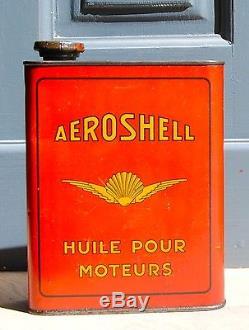 Bidon huile Shell, Aeroshell, tôle, oil can, émailschild, latta