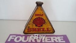 Bidon huile ancien SHELL triangulaire année 1910 rare Öl dose oil can tin