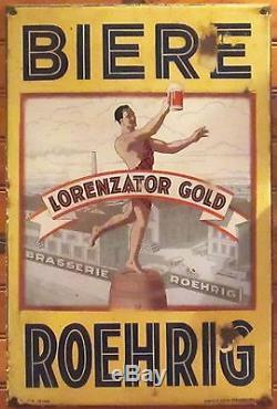 Biere Lorenzator Gold Brasserie Roehrig Plaque émaillée ancienne Années 20