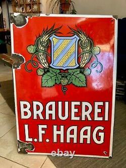 Bières L. F. HAAG Plaque émaillée publicitaire EAS 1940/1950