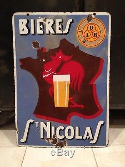 Bières SAINT-NICOLAS Plaque émaillée publicitaire 1930/1940 (Coq, Lorraine)